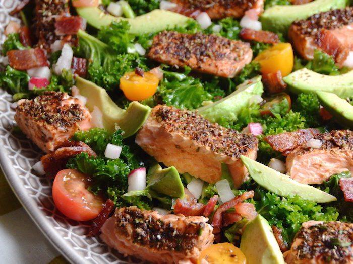 Salmon and Avocado Caesar Salad