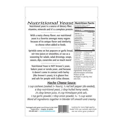 Foods Alive Nutritional Yeast Nutrition Facts