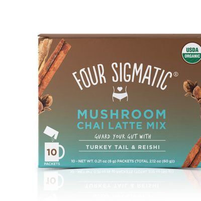 Four Sigmatic Mushroom Chai Latte Mix with Turkey Tail & Reishi - Front of Package