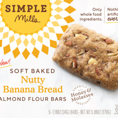 Simple Mills Nutty Banana Bread Almond Flour Bars - Front of Package