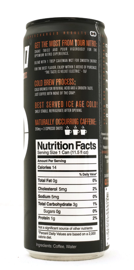 caveman nitro cold brew nutrition